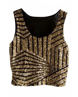 Gold Womens Fancy Stripe Sequins Tank Crop Top