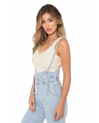 Fashion V Neck Sleeveless Mohair Bodycon Plain Crop Top White