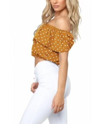 Off Shoulder Polka Dot Ruffle Crop Top Yellow