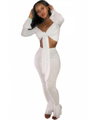 Bell Sleeve Tie Crop Top&High Waisted Flare Pants Two-Piece Set White