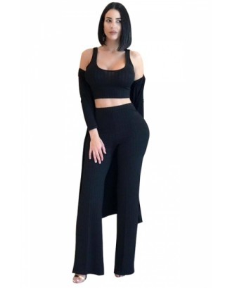 Crop Tank Top&High Waisted Pants With Cardigan Three-Piece Suit Black