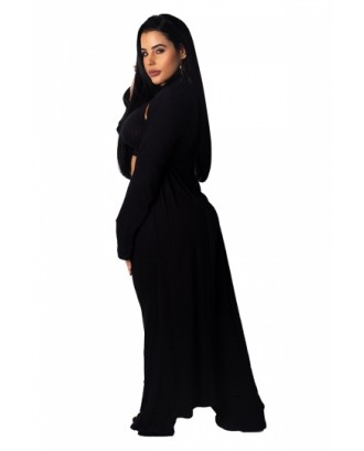 Crop Top&High Waisted Pants With Long Sleeve Coat Three-Piece Set Black