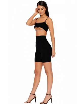 Cut Out Crop Top&High Waisted Shorts Plain Two-Piece Set Black