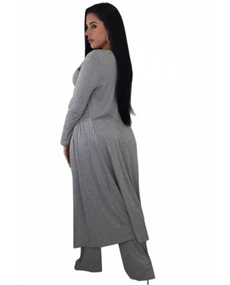 Crop Tank Top&High Waisted Pants With Cardigan Three-Piece Suit Gray