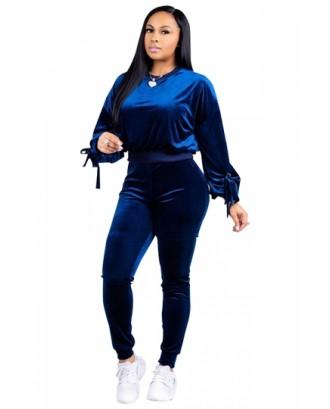 Fashion Long Sleeve Sweatshirt Plain Velvet Two Piece Tracksuit Blue