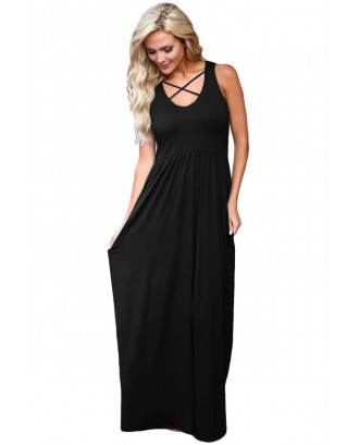 Black Crisscross Neck Detail Sleeveless Maxi Dress