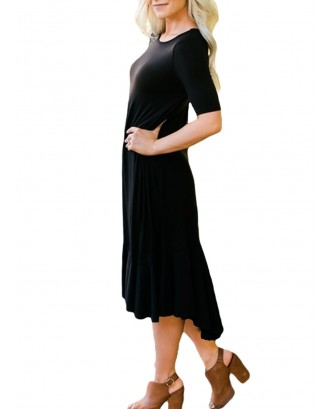 Black Flowy Ruffles Short Sleeve Casual Dress