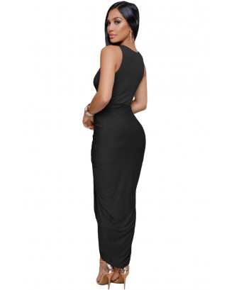 Black Crisscross V Neck Sleeveless Maxi Jersey Dress