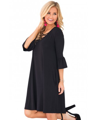 Black Crisscross V Neck Quarter Sleeve Short Jersey Dress
