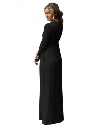 Black Long Sleeve High Waist Maxi Jersey Dress