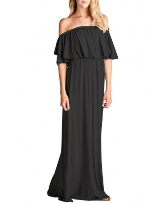 Black Off Shoulder Ruffle Maxi Casual Dress