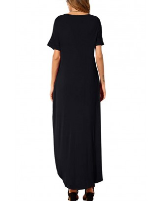 Black Casual Loose Pocket Short Sleeve Split Maxi Dress