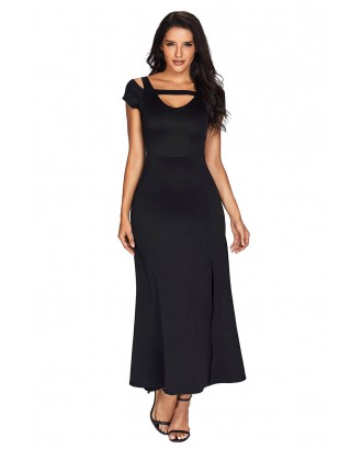 Black Cold Shoulder Front Slit Flare Maxi Dress