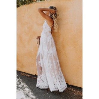 Deep V Neck Lace Wedding Party Maxi Dress