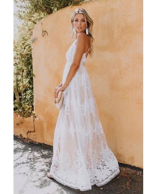 Deep V Neck Lace Wedding Party Maxi Dress