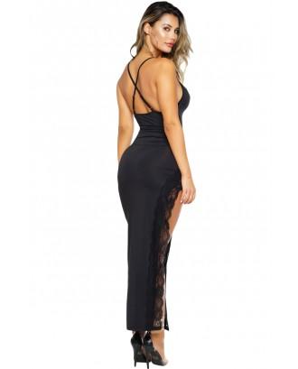 Black Side Slit Lace Trim Party Dress