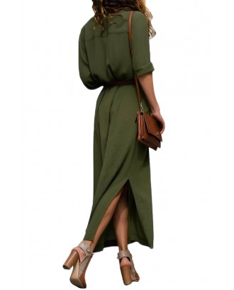 Army Green Slit Maxi Shirt Dress with Sash