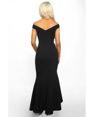 Black Off The Shoulder Frill Detail Maxi Dress