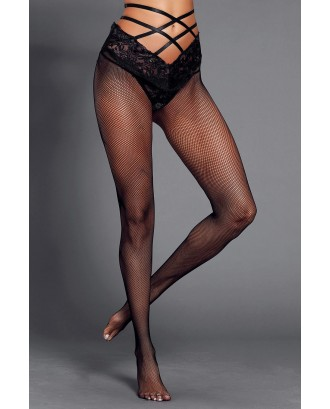 Black Strappy High Waist Lace Mesh Pantyhose