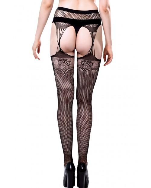 Black Lace Fishnet Faux Gartered Pantyhose