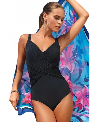 Black Pleated Cross Wrap Front Maillot