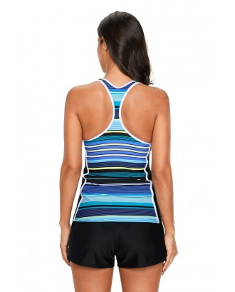 Blue Black Muti Striped Racerback Tankini Top