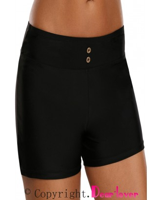 Black Button Detail Swim Boardshort