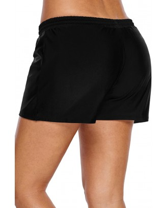 Black Elastic Drawstring Swim Shorts for Women