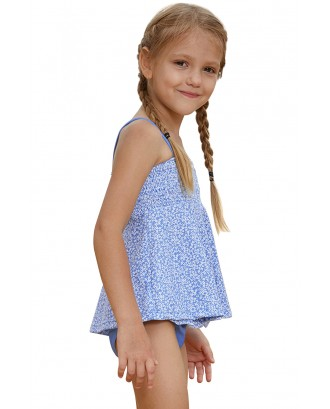 Blue Printed Kid Girls Tankini Swimwear