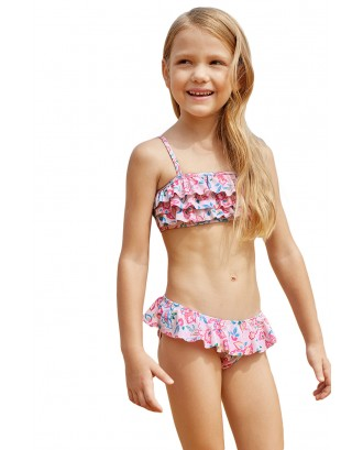 Blue Pink Multi-layer Ruffles Toddler Girls Bikini