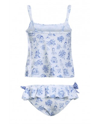 Blue Toile Pattern Little Girls Swimsuit