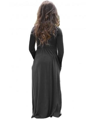 Black Long Sleeve Pocket Design Girls Maxi Dress