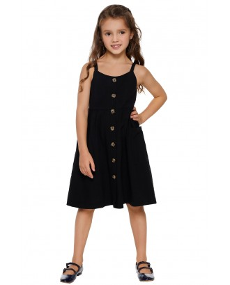 Black Little Girls Spaghetti Strap Button Dress with Pockets