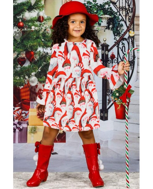 Santa Claus Allover Christmas Little Girl Dress