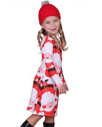 Amiable Santa Claus Printed Girls Christmas Dress