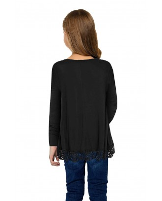 Black Long Sleeve Lace Trim O-neck A-line Tunic Blouse