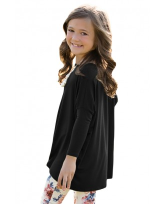 Black Soft Cotton Long Sleeve Girl Top