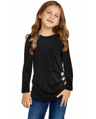 Black Little Girls Long Sleeve Buttoned Side Top