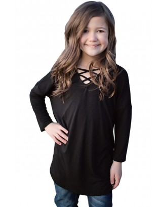 Black Long Sleeve Crisscross Top for Girls