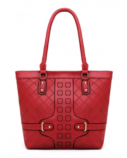 6 Piece Rhombus Embossed PU Leather Handbag Set - Red
