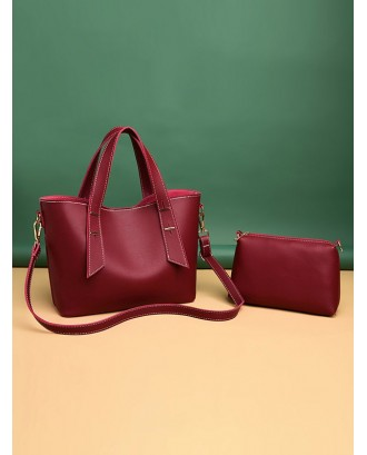 2Pcs Solid Casual Tote Bag Set - Red Wine