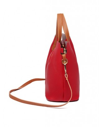 Contrast Trim Faux Leather Crossbody Bag - Lava Red