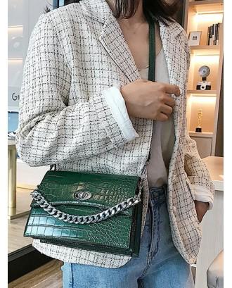 Chain Solid Hasp Animal Skin Shoulder Bag - Medium Sea Green