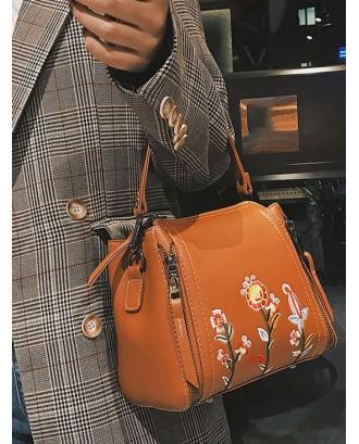 Embroidered Flower Solid Shoulder Bag - Brown