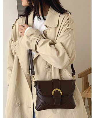 Cover Solid Leather Crossbody Shoulder Bag - Coffee