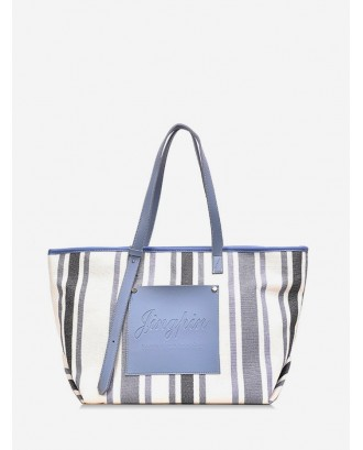 Canvas Plaid Travel Tote Bag - Blue Gray