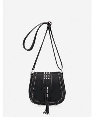 Saddle Shape Retro Flower Pattern Tassel Shoulder Bag - Black