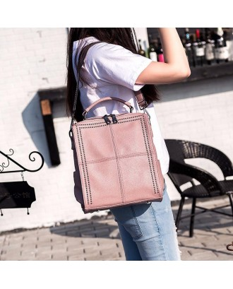 Bags Leather Shoulder Version Satchel Wild Leather Handbag Backpack - Silver
