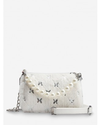 Faux Pearl Sequin Quilted Fuzzy Crossbody Bag - White