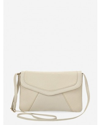 Brief Style Solid Color Crossbody Bag - Warm White